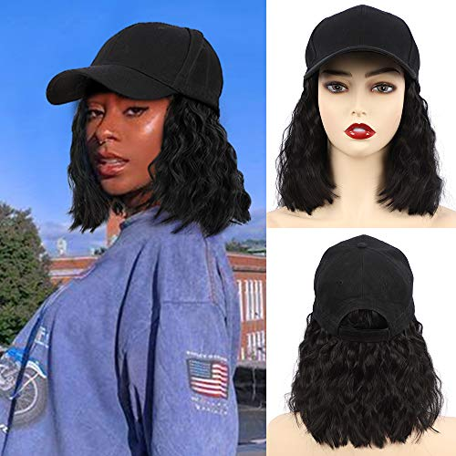 CHRSHN Hat Wig Short Wave Baseball Cap Wig with Curly Hair Extensions Synthetic Wave Wig Hat for Women Adjustable Black…