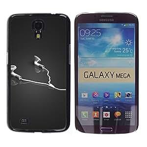 TopCaseStore / la caja del caucho duro de la cubierta de protección de la piel - Abstract Headphones - Samsung Galaxy Mega 6.3 I9200 SGH-i527