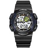 Boy Digital stopwatch,Sport watch 30m waterproof Dual display Luminous Calendar Month of the week Shock resistant-D