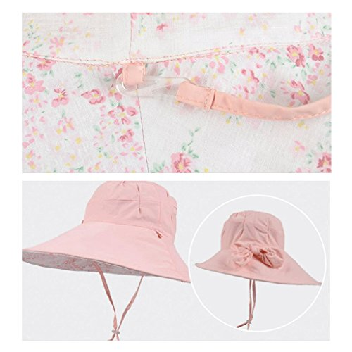 Sole Spiaggia Protezione Qiqidedian Lungo Azzurro Da E Con Solare Light Visiera Parasole Pink Estivo colore Cappello Pieghevole Femminile xREEn