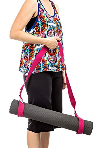 Yoga Mat Strap for carrying Yoga Mats of any kind & size. Replaces Yoga Mat bags and prevents bacteria growth (Lifetime Warranty & Money Back Guarantee Included) - FiveFourTen - Red