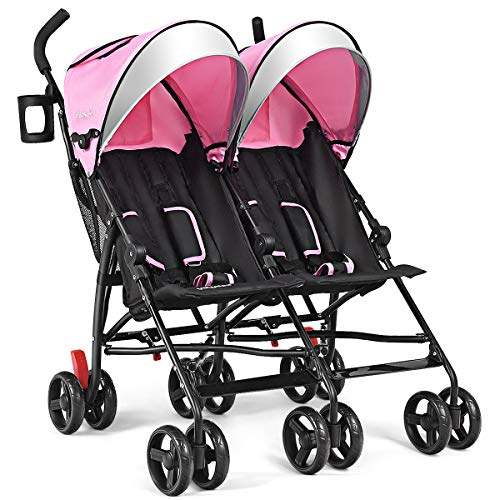 BABY JOY Double Light-Weight Stroller, Travel Foldable Design, Twin Umbrella Stroller with 5-Point Harness, Cup Holder, Sun Canopy for Baby, Toddlers (Pink)