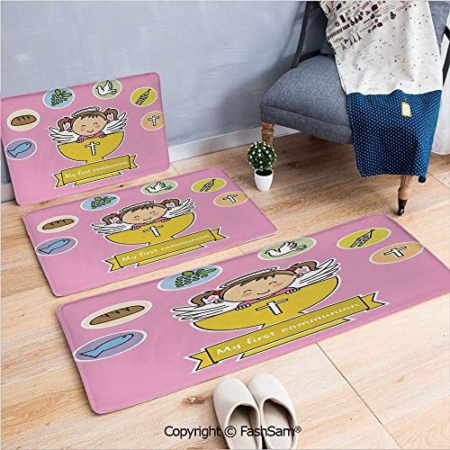 (FashSam 3 Piece Flannel Doormat First Communion Girl Happy Smiling Child Illustration Prayer Believe Celestial Art for Kitchen Rugs Carpet(W15.7xL23.6 by W19.6xL31.5 by)
