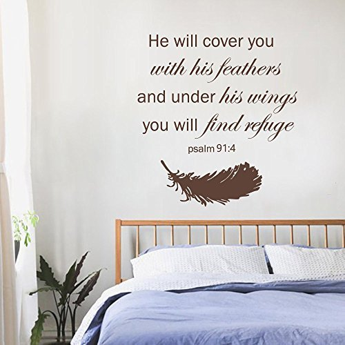 Wall Decal Decor Psalm 91:4 Bible Verse - He will cover you with feathers and under his wings you will find refuge Family Vinyl Religious Wall Decal (brown, 58
