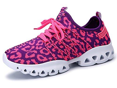 IIIIS-R Botas Zapatillas de Deporte Zapatos Deportivos de los planos atléticas ocasionales de la malla respirable del Verano de Las rosa morado