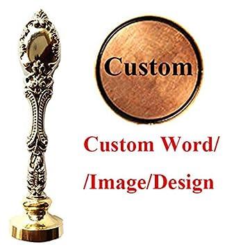 MNYR - Juego de sellos de cera personalizables, diseño vintage personalizado, con texto en