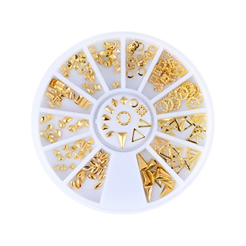 Triangle Square Designs Gold Metal Hollow Nail Art Studs Nail Art (Design Square Metal)