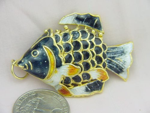 Black Cloisonne Articulated Fish Enameled (Cloisonne Fish compare prices)