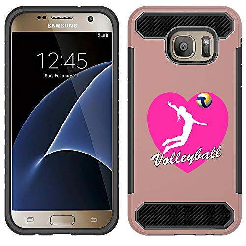 [NickyPrints] Hybrid Case For Galaxy S7 - Heart Volleyball Design Printed with Embossed Effect - Unique Dual Layer Full Protection  Shockproof Galaxy S7  Rose Gold Case / Cover