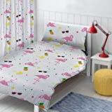 "Flamingo Design by The Gift Scholars. Reversible Toddler duvet, Single Duvet, 54"" Curtains 72"" Curtains. Fun Kids Boys Girls Toddler Duvet set with matching pillowcase (Flamingo Curtains 72' Drop)"