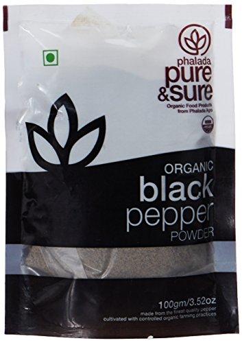 Pure and Sure Organic Powder, Black Pepper, 100g
