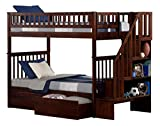 Cheap Woodland Staircase Bunk Bed with Flat Panel Bed Drawers, Twin over Twin, Walnut