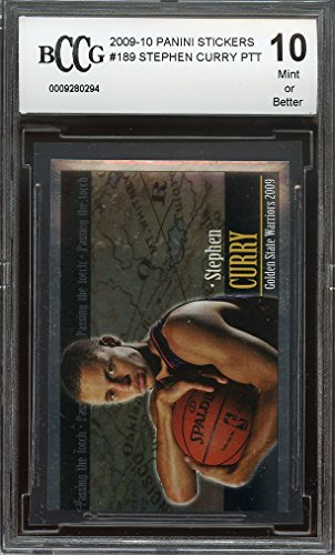 2009-10-panini-stickers-189-stephen-curry-ptt-warriors-rookie-card-bgs-bccg-10-graded-card