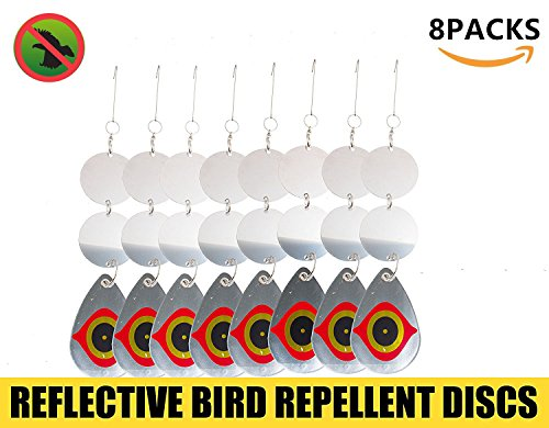 Bird Repellent Discs, Double Face Bird Scared Reflective Disks, Deter Birds Away, Protect Property & Crops From Damage & Mess(Round Shape) - Faces Shape Round Best Glasses For