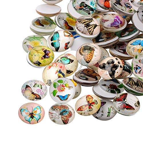 (ARRICRAFT 200pcs Butterfly Printed Glass Half Round/Dome Cabochons Mixed Color for Jewelry Making Beads Caps)