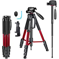 Neewer 70 inches Aluminium Camera Tripod Monopod with 3-Way Swivel Pan Head,Cellphone Holder,Bluetooth Remote,Bag for iPhone,Samsung,Huawei Smartphone,DSLR Camera,Load Up to 8.8 Pounds Red (SAB264)