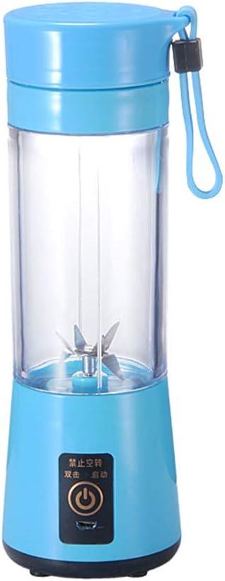 Licuadora Portátil USB Recargable,Exprimidor Eléctrico 380ml,Mini Batidora de Vaso Individual Extractor de Naranjas,para Fruta Verdura Batido Smoothie y Comida Bebé Familias (Blue)