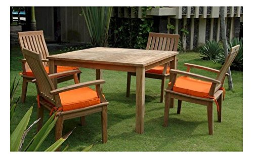 Windsor 47 in. Square Table w 4 Brianna Dining Armchairs by Anderson Teak