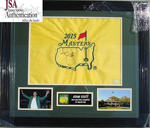 Adam Scott Hand Signed Autographed The Masters Flag - Augusta National - Custom Framed - JSA Certified