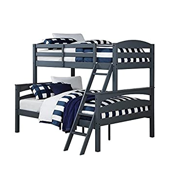 Dorel Living Brady Twin over Full Solid Wood Kids Bunk Bed with Ladder, Gray