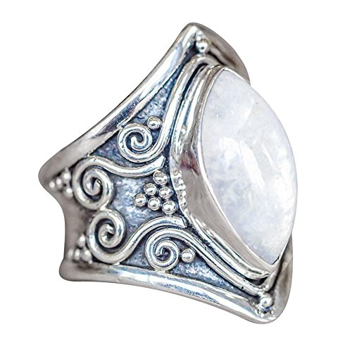 (HIRIRI Moonstone Opal Ring Necklace Retro Stylish Gem Inlaid Accessories Wedding Engagement Present Silver)