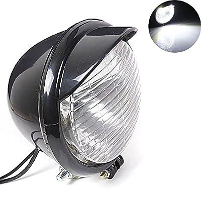 TUINCYN Motorcycle Headlight Bulb Lamp DC 12V 10W Retro Round Motorbike White Running Light Universal for For Harley Chopper Bobber Custom (Pack of 1)