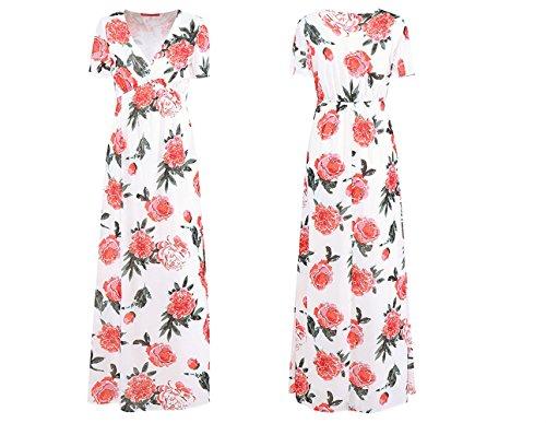 Plage Soie de Robe Fleur Fashion en col White Robe Robe Robe de Robe Profond Imprime de V Weekendy en Mousseline RxOn8T