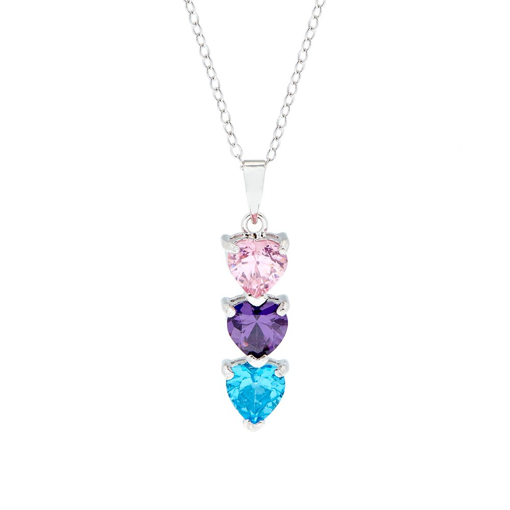 Sterling Silver 3 Stone Custom Simulated Birthstone Heart Drop Mother's Pendant (16'' chain)