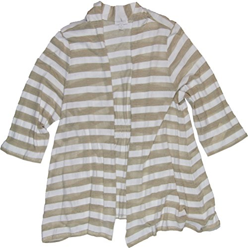 Charter Club Women's Plus Size Long Sleeve Striped Cardigan 0X Sand Combo