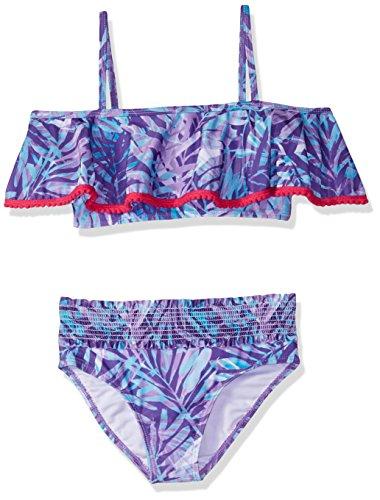 (Jantzen Little Girls Two Piece Tropicana Pompom Bikini, Warm FOILIAGE Print, 5)