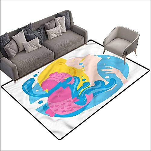 Splash Chandra (Corridor Rug Colorful Zodiac Pisces,Water Splashes Girl 36