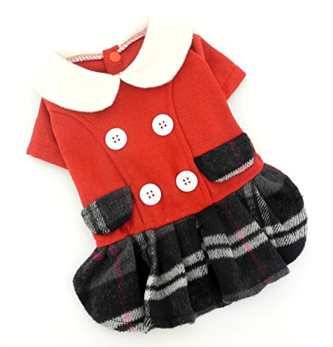 Boutique Armoire - SELMAI Red Dog Dress Plaid Skirt Dog Wool Coat Small Girl Puppy Chihuahua Clothes M