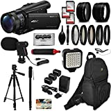 Sony FDR-AX100 4K Ultra HD Camcorder Video Camera + 192GB Memory + Backpack + Mic + Telephoto & Wide Angle Lenses + Filter Set + LED Video Light + Tripod + Monopod + Extra Charger & Batteries + More