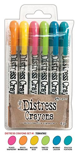 SPECIAL BUNDLE Includes: Ranger Tim Holtz 42 Distress Crayons: Sets #1-7, PLUS 2 Tim Holtz Distress Crayon TINS