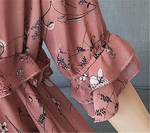 Parto Stampa Manica Mezza Bonitas Vestito Vestito BESTHOO Elegante Chiffon Per Abito Donna Abito Floreale Allentata Pink Girocollo t8xqxOIv