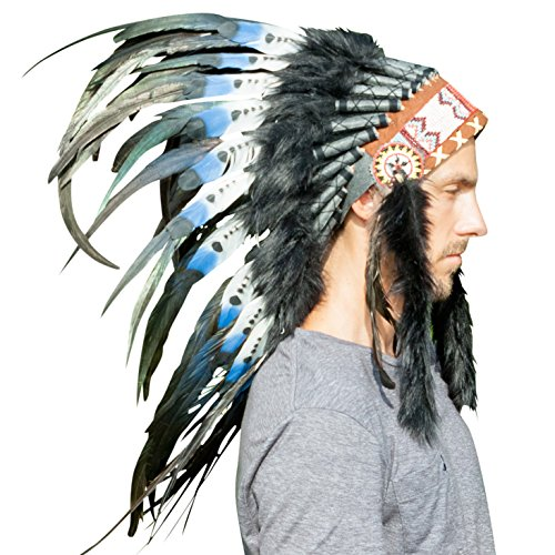 India Indian Costumes - Feather Headdress- Native American Indian Inspired- Handmade Halloween Costume for Men Women with Real Feathers - DOUBLE FEATHER Blue