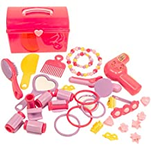 MMP Living Girls Deluxe Beauty Pretend Play & Dress up Set with case, Hair Dryer and Accessories - 31pcs