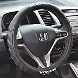 """Honda Steering Wheel Cover Small 13.5""""-14.5"""" Black Odorless Synthetic Leather Grip"""