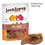 Cheap Jack&Pup Prime Extra Thick Whole Pig Ears Odor Free Dog Treats, (8 Pack) – Premium Grade Long Lasting All Natural and Unflavored Gourmet Dog Treat Chews – Fresh & Tasty Low-Calorie Treat