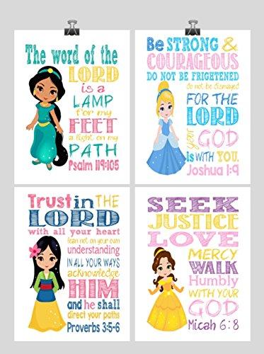 Princess Set of 4 - Christian Nursery Decor Wall Art Print - Jasmine, Cinderella, Mulan and Belle - Bible Verse - Multiple (Baby Mulan)