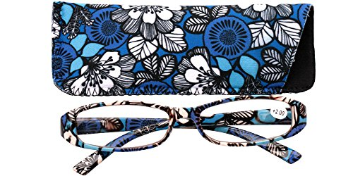 9a3703d9579 SOOLALA 2-Pair Designer Fashionable Spring Hinge Rectangular Reading  Glasses w  Matching Pouch