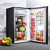 TACKLIFE Compact Refrigerator, 3.2 Cu.Ft Mini Fridge with Freezer, 37DB, with Adjustable Temperature, Removable Glass Shelves