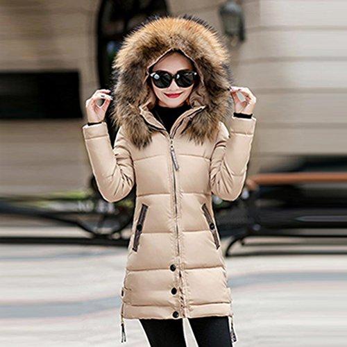 Caqui delgado Mujeres SHOBDW cálido chaqueta parka abrigo largo abajo invierno encapuchado acolchado de dHdIwq7