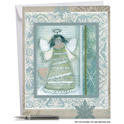Snowman Icicle Ornament - J6731FXTG Jumbo Merry Christmas Greeting Card: Snow Angels, Featuring Vintage Snowmen and Angels All Decked in Blue for Christmas; With Envelope (Big Size: 8.5
