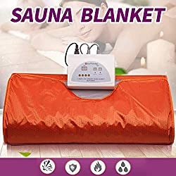 Uttiny Far Infrared Sauna Blanket, 70.8x31.4 Inches 110V 2 Zone Waterproof Detoxification Blanket with Safety Switch Used As Home Sauna for Body Shape Slimming Fitness