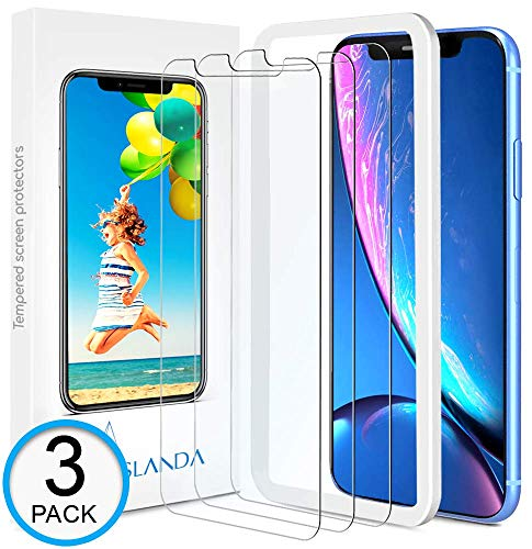 iPhone XR Screen Protector [3-Pack] ASLANDA iPhone XR Tempered Glass Screen Protector with Easy Installation Tray [Crystal Clear] Apple iPhone XR Glass Screen Protector 2018