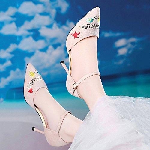 DKFJKI Sandales Femme Chaussures à Talon Pointu Boucle Mode Robe Broderie Beige Jao8l