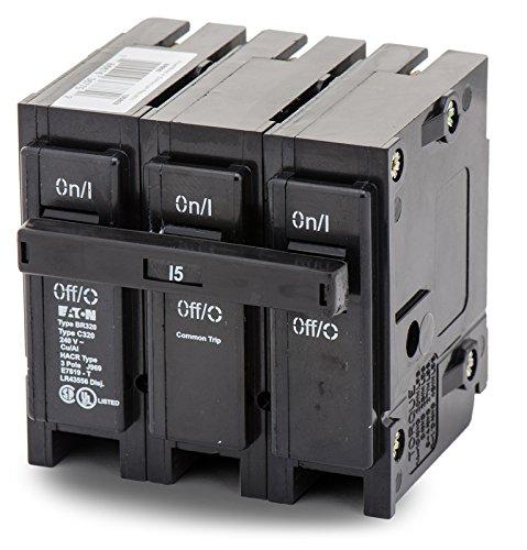 Eaton BR315 Plug-On Mount Type BR Circuit Breaker 3-Pole 15 Amp 240 Volt AC