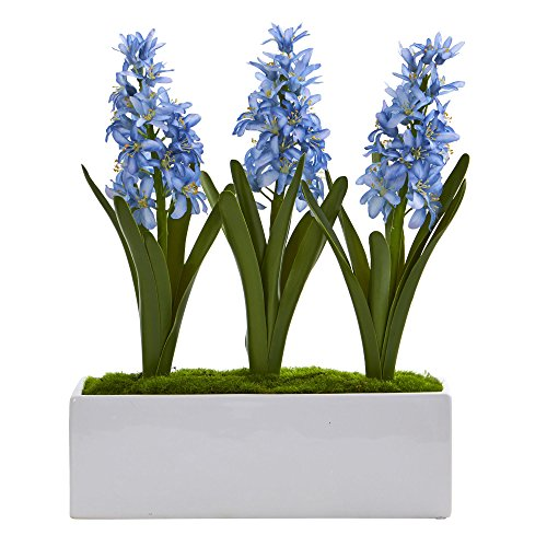 Nearly Natural Hyacinth Artificial Arrangement in White Vase, Blue