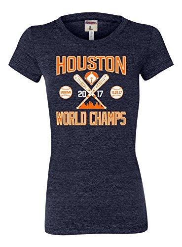 Medium Navy Blue Womens Houston World Champs 2017 Tri-Blend T-Shirt